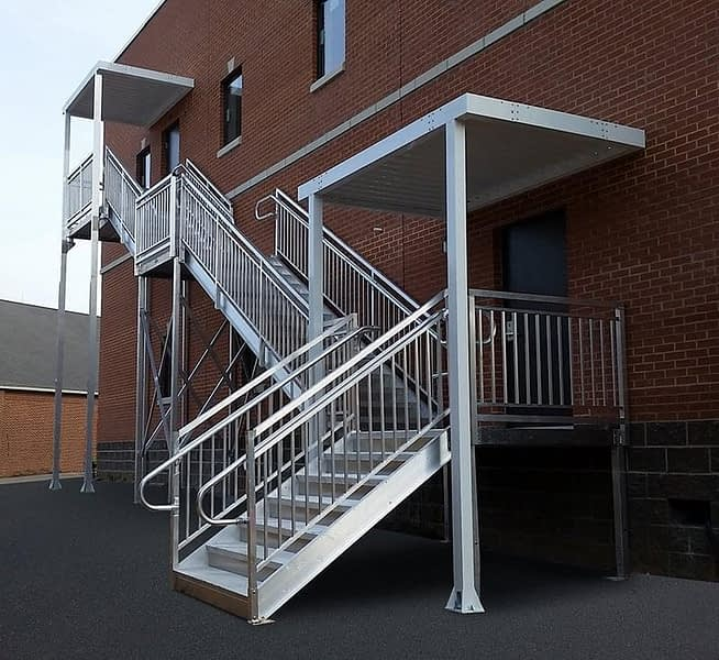 second story ada stairs with canopy